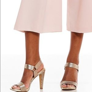 ced60a1d735 Karl Lagerfeld Shoes - Cieone Metallic Leather Ankle Strap Dress Sandals